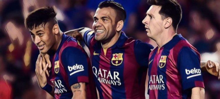 Alves Neymar Messi Barcelona