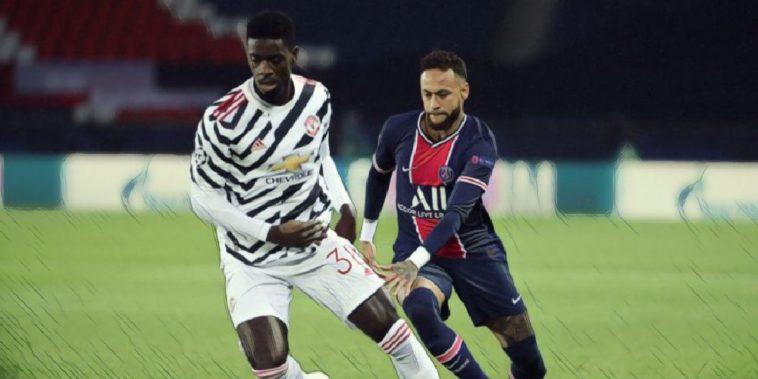 Axel Tuanzebe and Neymar, Man Utd v PSG