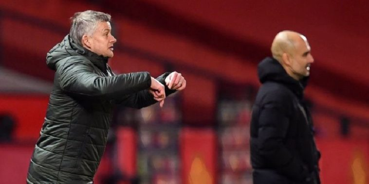 pep guardiola and ole gunnar solskjaer manchester derby 2020