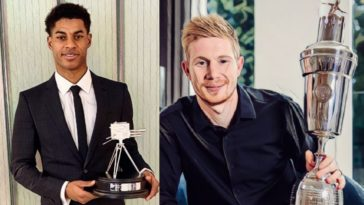 premier league awards 2020 best player transfer manager rashford de bruyne fernandes hasenhuttl