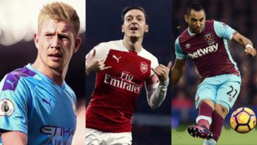 most chances created in a premier league season de bruyne ozil payet lampard malouda