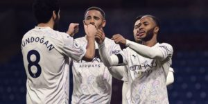 sterling, jesus and gundogan celebrate man city win at burnley