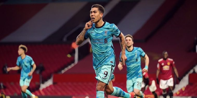 liverpool forward roberto firmino scores against manchester united