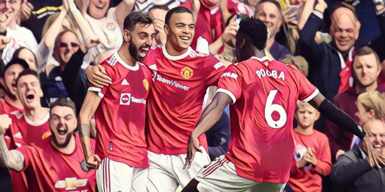 fernandes pogba and greenwood celebrate manchester united goal