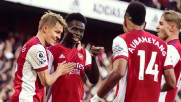 arsenal celebrate as part of a 3-1 over Spurs in the north London derby