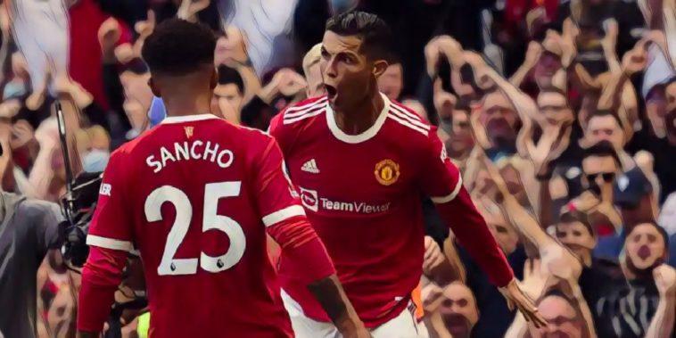 cristiano ronaldo and jadon sancho of manchester united