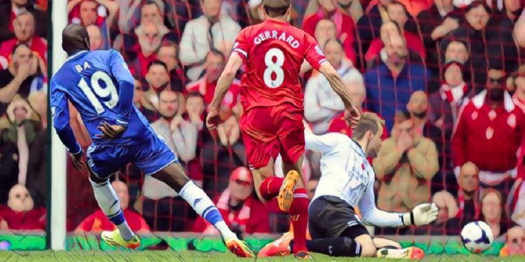 Demba Ba nets for Chelsea against Liverpool following a Steven Gerrard slip